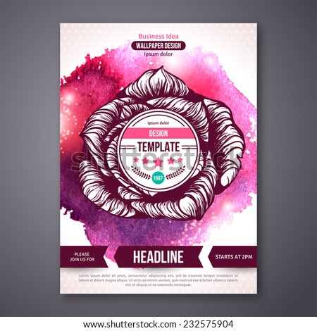 Business Poster or Flyer Template with watercolor paint background. Vector illustration. Typographic template for your text. Beauty, health & spa, fashion theme. - stock vector