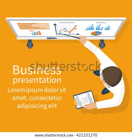 Business presentation. Businessman standing near whiteboard making a presentation. Pointing and explains the chart, giving report. Vector illustration of flat design style. - stock vector