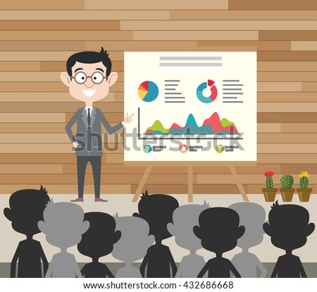 business presentation businessman standing present graph data front of crowd people vector graphic illustration - stock vector
