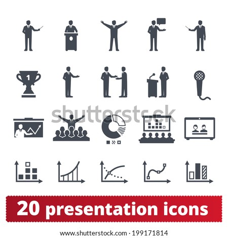 Business, presentation,  conference icons: vector set of meeting, finance and statistical signs. - stock vector