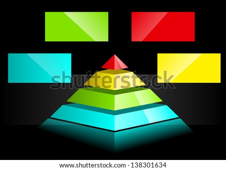 Business Presentation Diagram with multiple different colored fields for text and statistics