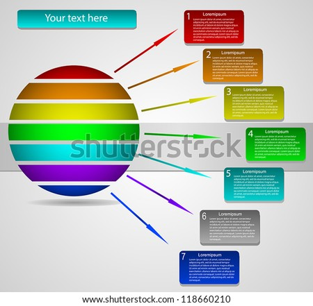 Business Presentation Diagram with seven different colored fields for text and statistics - stock vector