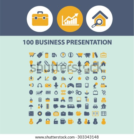 business presentation isolated flat icons, signs, illustrations, vector set