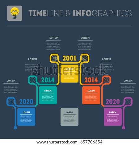 Horizontal Infographic Timelines Vector Web Template Stock Vector