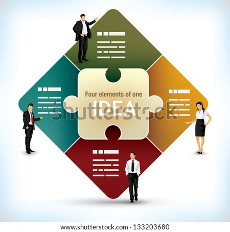 Business presentation template with a center puzzle piece and four additional fields on the sides - stock vector