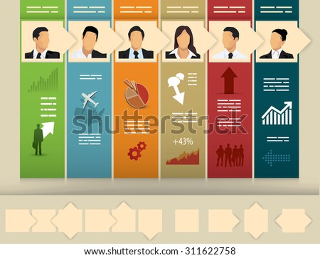 Business presentation template with variable boxes with arrows - stock vector