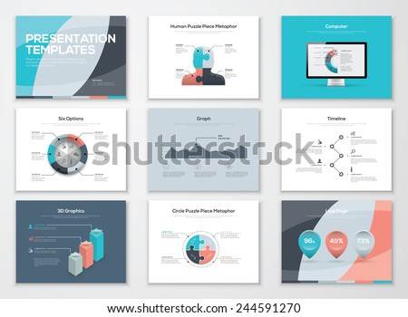 Business presentation templates and infographic vector elements. Information graphics for advertisements, magazines, booklets, websites, prints, marketing etc. - stock vector