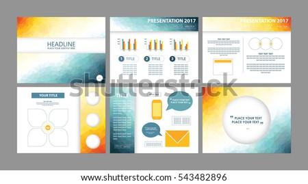 business presentation templates vectors low poly stock vector, Presentation templates