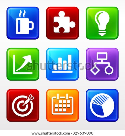 Business Presentations and Office Lifestyle on Color Square Buttons