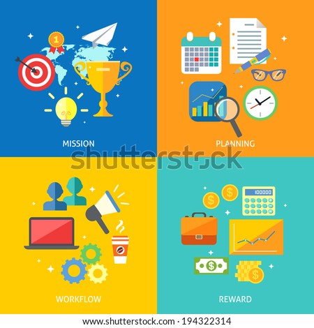 Business process concept mission planning workflow reward icons set vector illustration - stock vector