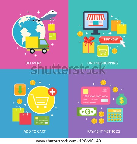 Business process concept of online internet shopping payment delivery flat icons set vector illustration - stock vector
