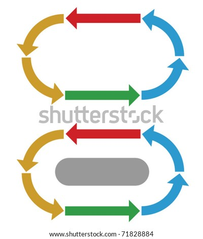 Business process diagram, direction and flow of activities - stock vector