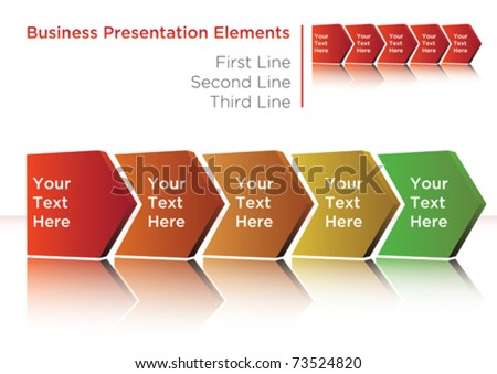 business process flow presentation with arrow placeholders - stock vector