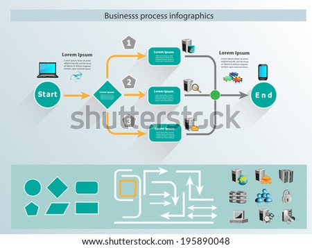 Business process infographics and reusable icon - stock vector