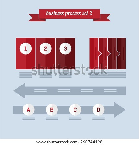 Business process set 2. Flat style design - vector. Can be used for workflow layout, diagram, number options, step up options, web design, infographics. - stock vector