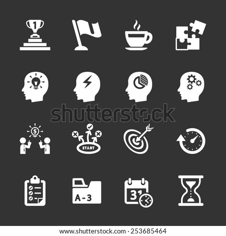 business productivity icon set, vector eps10. - stock vector