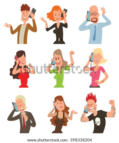 Business professional people with phone and female, executive business people with phone. Success business people with smartphone. Successful professional business people talking his cell phone vector - stock vector