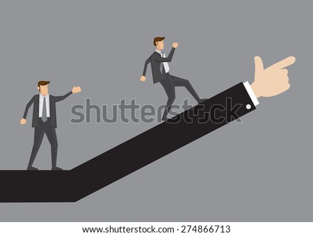Business professional walking up in the direction as advised. Creative vector illustration for business concept isolated on plain grey background.