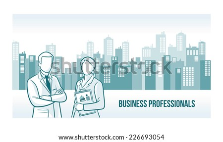 Business professionals banner with skyline urban background - stock vector