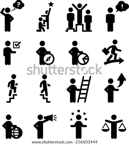 Business professionals, career advancement and human resources issues.  - stock vector