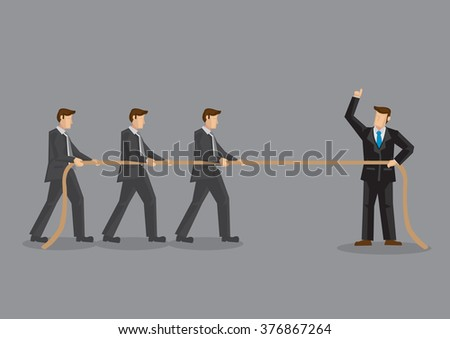 Business professionals in tug of war with three men on one side of rope and one man in command on opposite side. Vector illustration on organizational development training concept. - stock vector