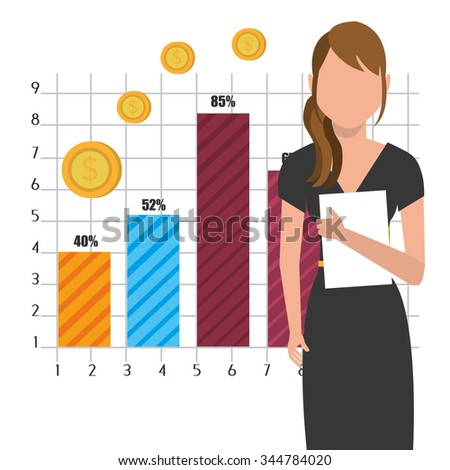 Business profits growth up graphic design, vector illustration