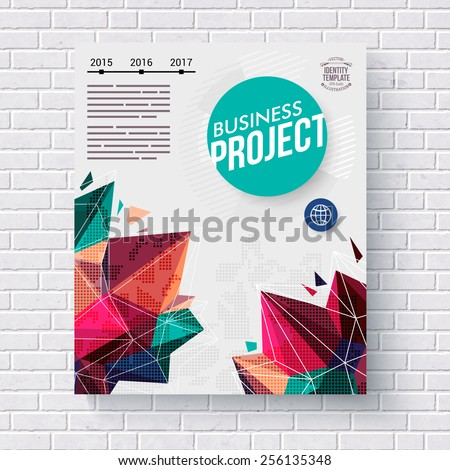 Business Project infographic template with a bold colorful design of crystal points, circular blue title and editable text with a time line, dimensional vector design hanging on a white brick wall - stock vector