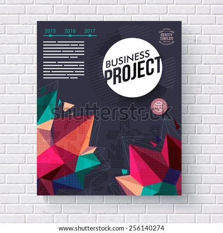 Business project vector template with colorful geometric crystal points and editable text on a dark background with circular white title icon - stock vector