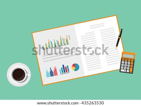 business proposal document paper work with graph calculator pen and coffee vector graphic illustration - stock vector