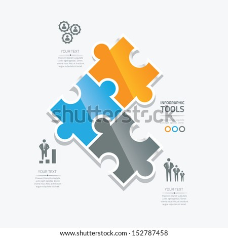 Business puzzle pieces infographic option tools vector - stock vector