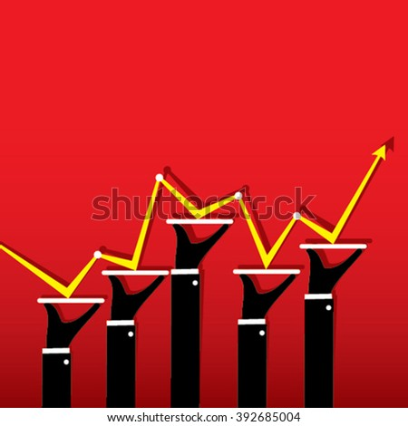business random growth graph design vector