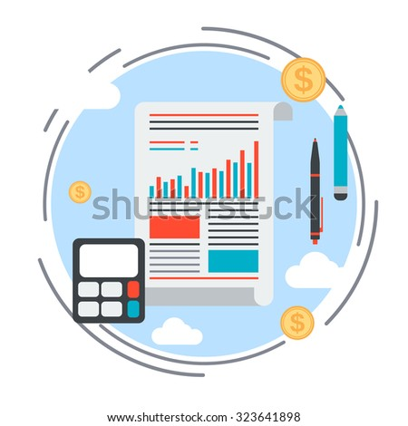 Business report, financial analysis, business statistics, financial calculations vector concept. Flat design style illustration for websites, applications, booklets, brochures, layouts - stock vector