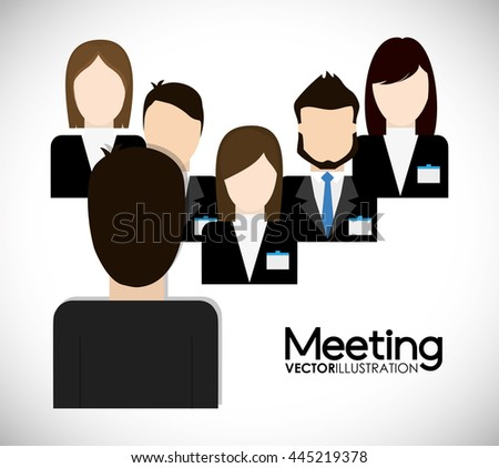 Business represented by businesspeople on meeting  icon. flat and isolated illustration