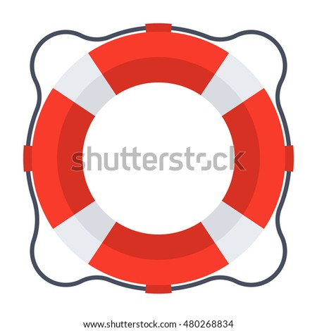Business rescue concept with lifebuoy in flat style.