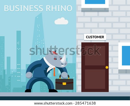 Business rhino. Angry businessman. Character animal job, horn and suit. Vector illustration - stock vector