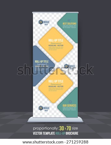 Business Roll-Up Banner, Advertising Vector Design - stock vector