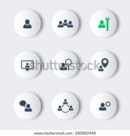 business round modern icons with people, vector illustration, eps10, easy to edit - stock vector