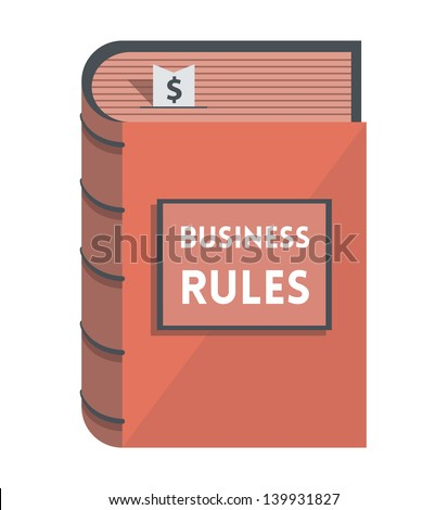Business Rules book with bookmark with dollar symbol isolated on white.