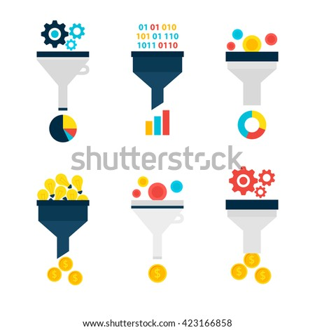 Business Sales Funnel Objects Set isolated over White. Flat Design Vector Illustration. Collection of Data Filter Items. Funnel Conversion. - stock vector