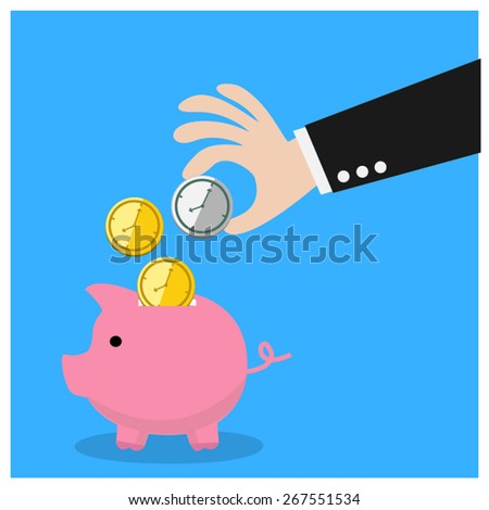 Business save time , Time is a money. - stock vector