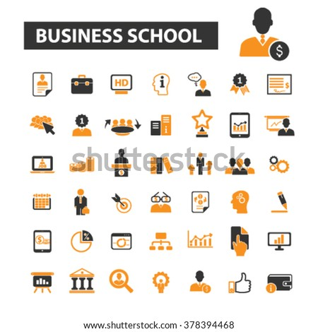 business school icons, business education icons vector, business education flat illustration concept, business education logo, business education symbols set, business education - stock vector