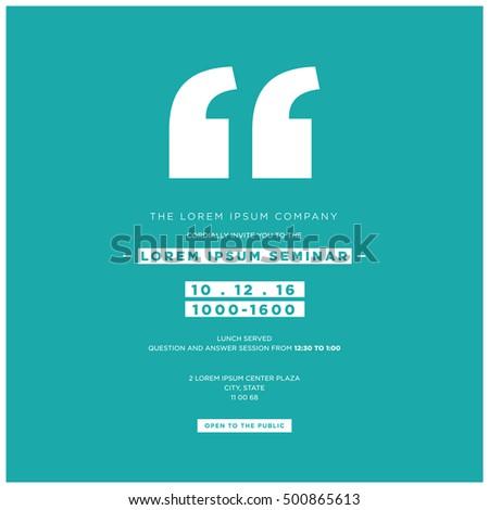 Business Seminar Invitation Design Template With Stock Vector ...