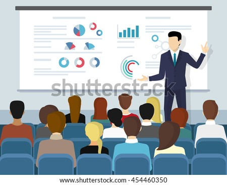 Business seminar speaker doing presentation and professional training about marketing, sales and e-commerce. Flat illustration of public conference and motivation for business audience - stock vector