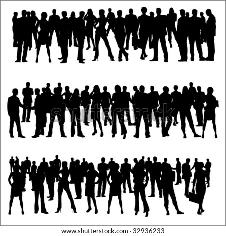 Business Separate People Crowd Silhouettes - stock vector