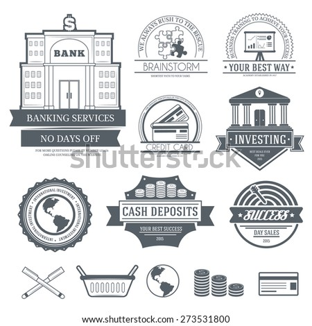 Business set label template of emblem element for your product or design, web and mobile applications with text. Vector illustration with thin lines isolated icons on stamp symbol.  - stock vector