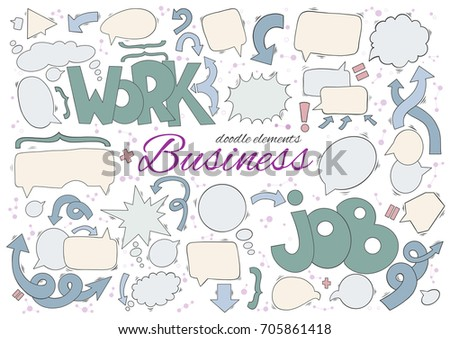 Business set of speech and thought bubbles elements. Arrows, text and additional elements include. All elements in pastel neutral colors good for work presentations.Hand drawn doodle
