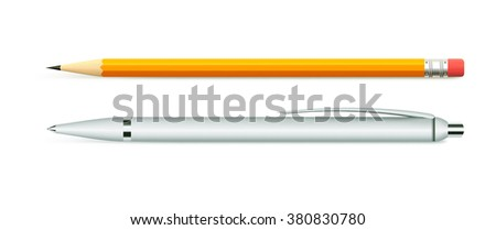 Business set of stationery items, pen and pencil - stock vector
