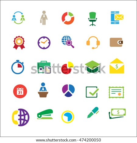 business set on white background