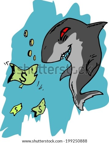 business shark want to devour business - stock vector