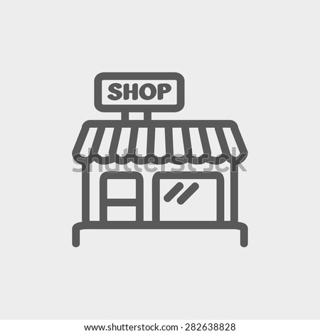 Business shop icon thin line for web and mobile, modern minimalistic flat design. Vector dark grey icon on light grey background. - stock vector